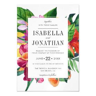 Tropical Hibiscus, Plumeria & Palm   Wedding Magnetic Card