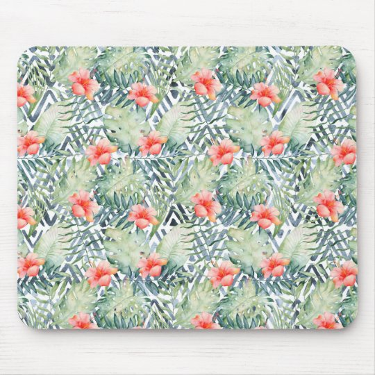 Tropical Hibiscus Tribal Floral Mouse Pad