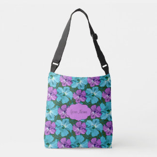 Tropical Hibiscus Turquoise and Purple Crossbody Bag