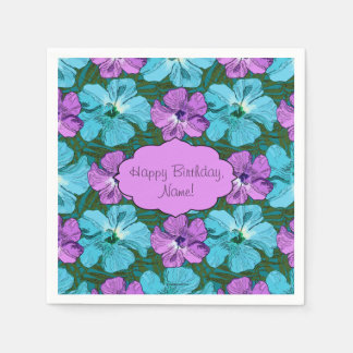Tropical Hibiscus Turquoise and Purple Disposable Napkin