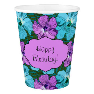 Tropical Hibiscus Turquoise and Purple Paper Cup