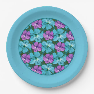 Tropical Hibiscus Turquoise and Purple Paper Plate