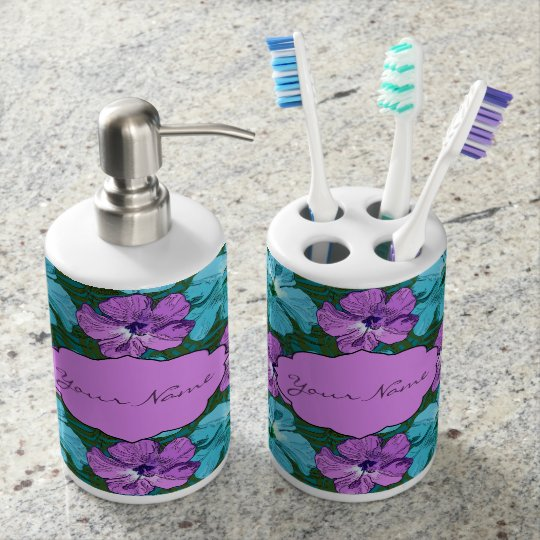 Tropical Hibiscus Turquoise and Purple Soap Dispensers