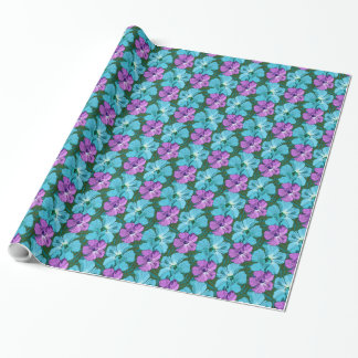 Tropical Hibiscus Turquoise and Purple Wrapping Paper