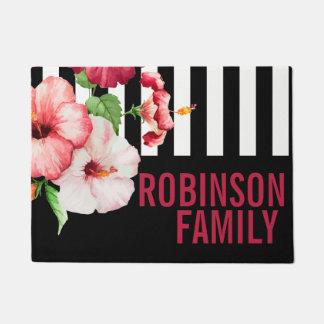 Tropical Hibiscus Vintage Florals Bold STRIPE Text Doormat