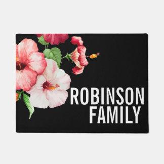 Tropical Hibiscus Vintage Florals Bold Text Doormat