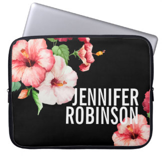 Tropical Hibiscus Vintage Florals Bold Text Laptop Sleeve