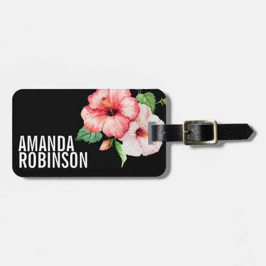Tropical Hibiscus Vintage Flowers Bold Text Luggage Tag