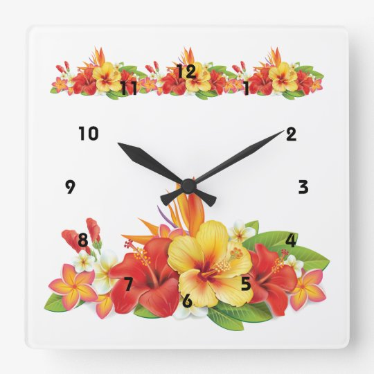 Tropical Hibiscus Wall Clock