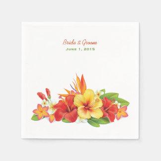 Tropical Hibiscus Wedding Paper Napkins