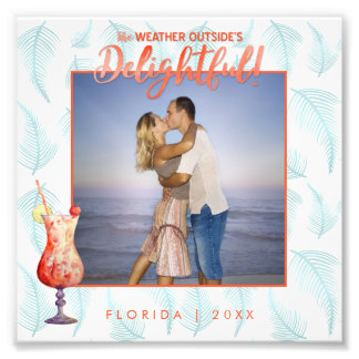 Tropical Holiday Palms & Umbrella Drink Overlay Photo Print