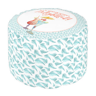 Tropical Holidays | Bright Colors Teal & Salmon Pouf