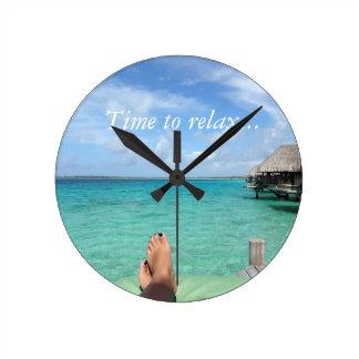Tropical Honeymoon Round Clock