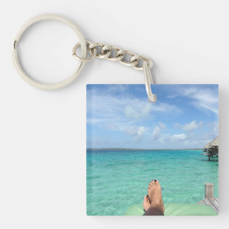 Tropical Honeymoon Single-Sided Square Acrylic Keychain