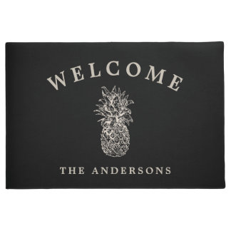 Tropical Hospitality | Pineapple Personalized Doormat
