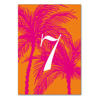 Tropical Hot Pink and Orange Table Numbers