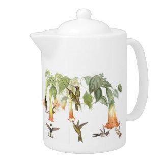 Tropical Hummingbird Birds Animals Flowers Teapot