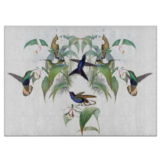 Tropical Hummingbird Birds Flowers Cutting Board