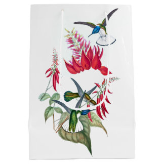 Tropical Hummingbird Birds Red Flowers Gift Bag