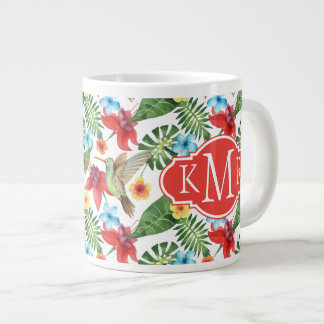 Tropical Hummingbird | Monogram Giant Coffee Mug
