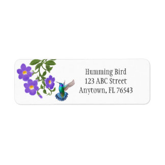 Tropical Hummingbird on Thunbergia Flowers Avery L Return Address Label