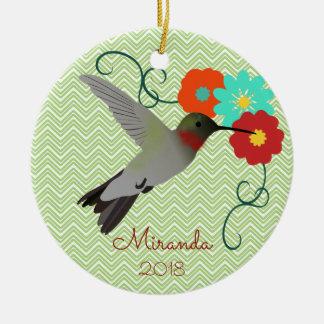 Tropical Hummingbird Personalized Ceramic Ornament
