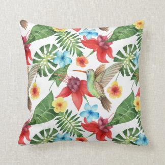Tropical Hummingbird Throw Pillow