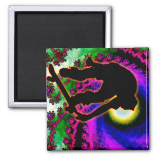 Tropical Hurricane Eye with Skateboarder Square Magnet