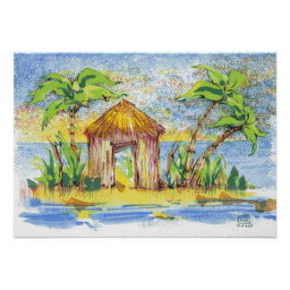 Tropical Hut Pop Art Poster