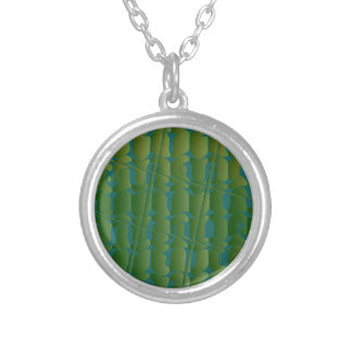 Tropical Inspired Green and Blue Pattern Round Pendant Necklace