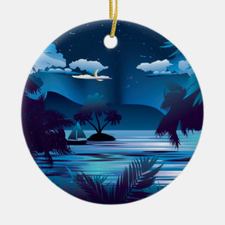 Tropical Island at Night Round Ceramic Ornament