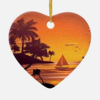 Tropical Island at Sunset 2 Ceramic Heart Ornament
