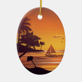 Tropical Island at Sunset 2 Ceramic Oval Ornament