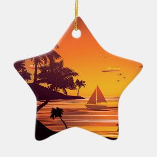 Tropical Island at Sunset 2 Ceramic Star Ornament