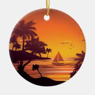 Tropical Island at Sunset 2 Round Ceramic Ornament