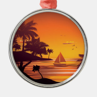 Tropical Island at Sunset 2 Silver-Colored Round Ornament