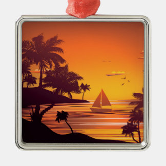 Tropical Island at Sunset 2 Silver-Colored Square Ornament
