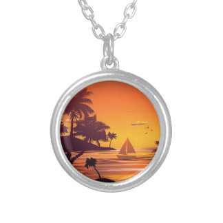 Tropical Island at Sunset 2 Silver Plated Necklace
