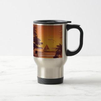 Tropical Island at Sunset 2 Travel Mug