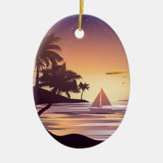 Tropical Island at Sunset Ceramic Oval Ornament