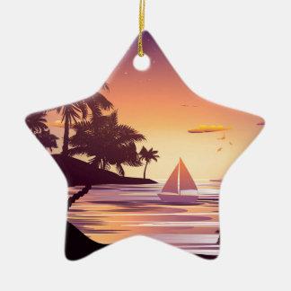 Tropical Island at Sunset Ceramic Star Ornament