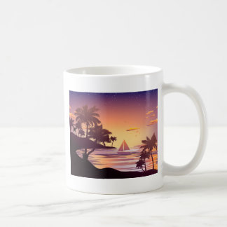 Tropical Island at Sunset Coffee Mug
