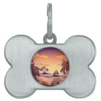 Tropical Island at Sunset Pet Name Tag