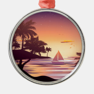 Tropical Island at Sunset Silver-Colored Round Ornament