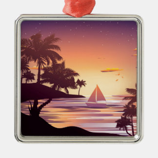 Tropical Island at Sunset Silver-Colored Square Ornament