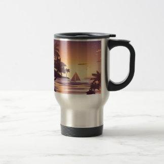 Tropical Island at Sunset Travel Mug