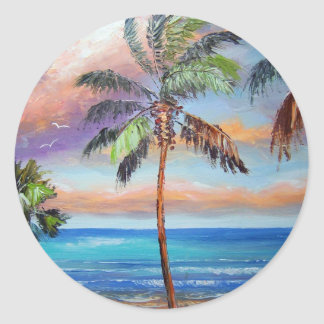 Tropical Island Beach Round Sticker