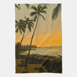 Tropical Island Beach Sunset Kitchen Towel