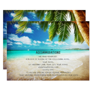 Tropical Island Beach Wedding Accommodation Cards