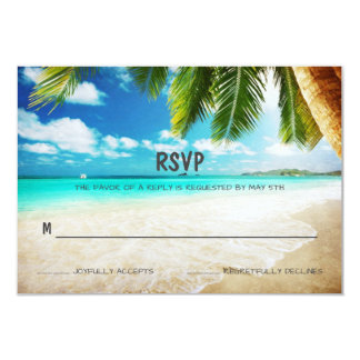 Tropical Island Beach Wedding RSVP Card